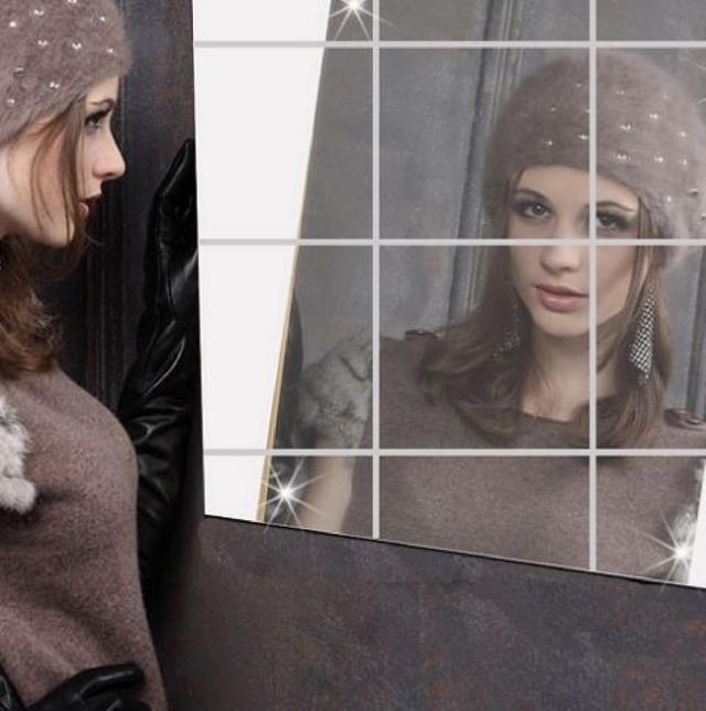 (一包16片裝)鏡貼 鏡子 光滑平面 寢室用具 梳妝台 聖誕禮物