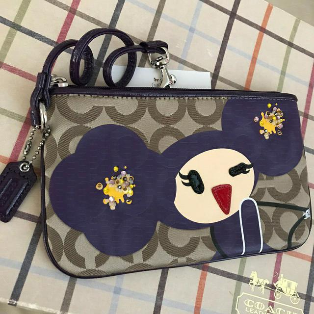 全新真品 Coach 44188 Poppy Chan Purple 咖啡大C手拿包