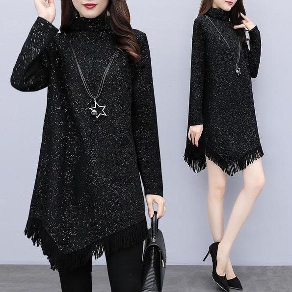 韓版時尚不規則裙襬流蘇上衣