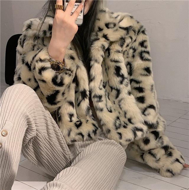 SG7277韓版優質 網紅炸街保暖豹紋夾棉外套