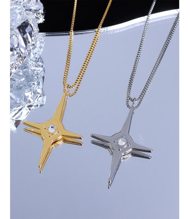 法式風choker芒星閃耀鋯石吊墜百搭項鍊鍍18真金鈦鋼項鍊飾品