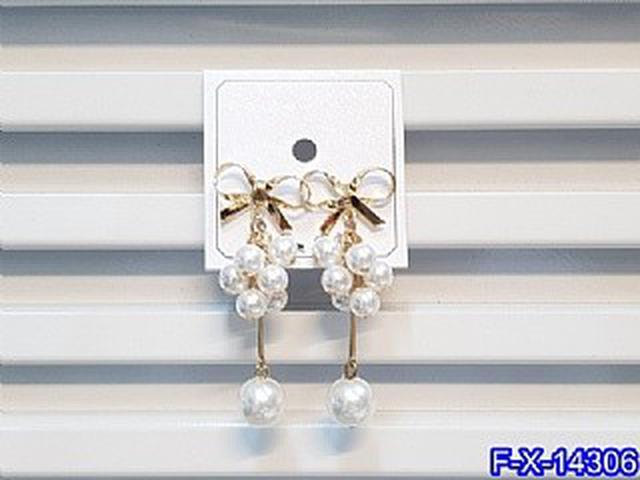 鏤空蝴蝶結珍珠串長款耳環   耳針 韓式