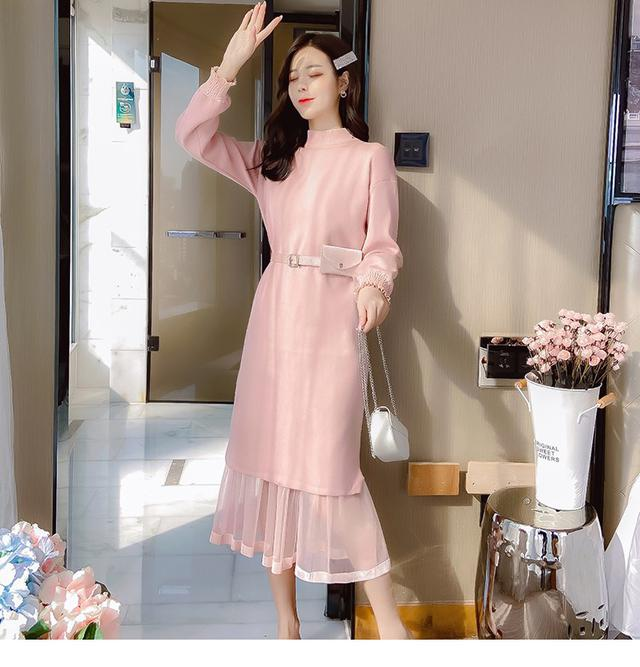 12/2 S-L 針織鬆緊高腰網紗連衣裙 (2色)