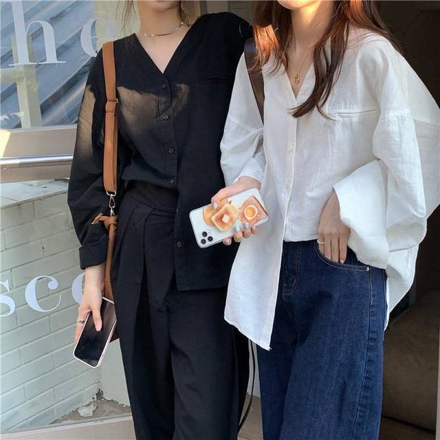 ➰韓系慵懶V領簡約襯衫