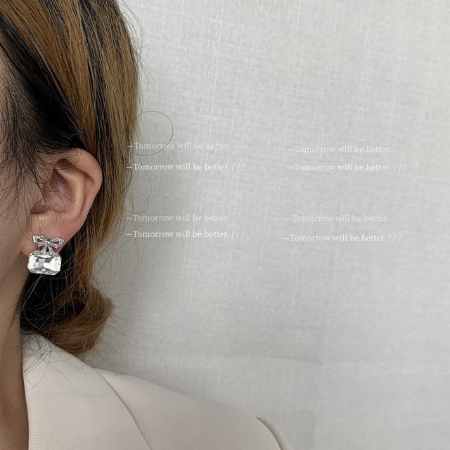 仙女請拍 蝴蝶結耳釘耳環2021年新款潮耳飾鋯石氣質個性簡約銀針