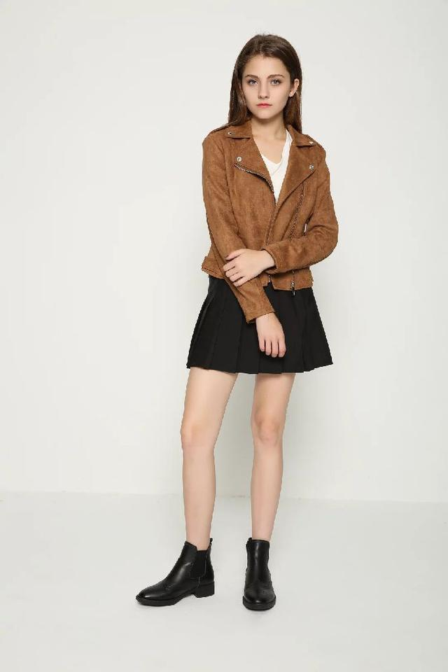 時尚百搭麂皮绒皮衣夹克短款外套(預購)