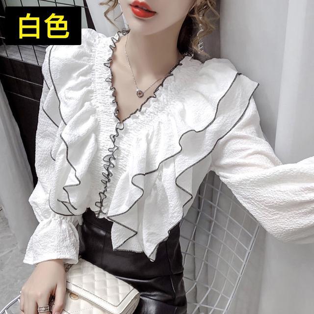荷葉邊V領襯衫女2020早秋新款寬松氣質百搭法式心機顯瘦長袖上衣