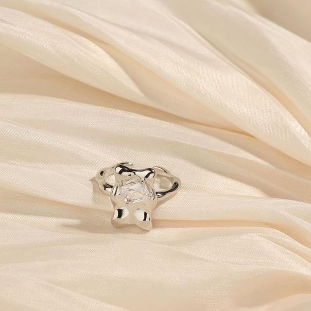 S925純銀簡約方鑽戒指歐美誇張個性復古設計感時尚潮流指環女