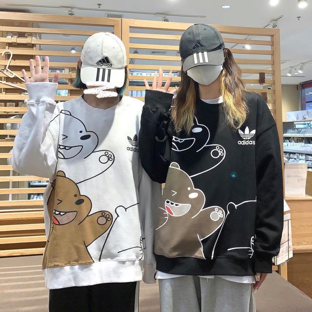 Adidas original阿迪達斯三葉草白熊情侶卡通衛衣