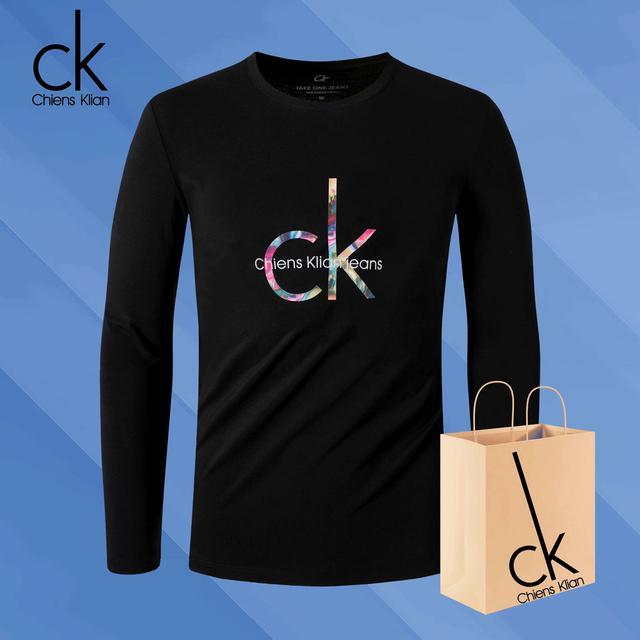 秋季新款CK20纯棉长袖t恤男圆领秋衣印花潮流打底衫