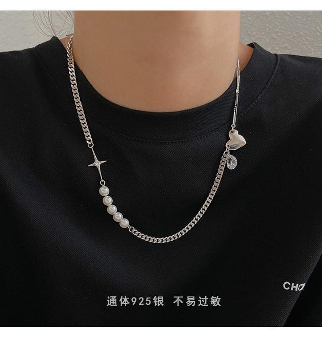 925純銀不對稱個性珍珠鋯石IG潮人項鏈女小眾設計感韓版鎖骨鏈子