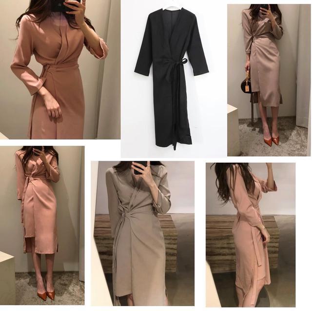 預購韓國同款雪紡綁帶連身裙