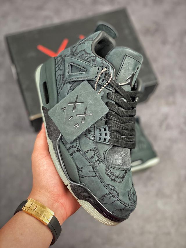 Air Jordan 4 X Kaws 黑麂皮  休閒慢跑鞋