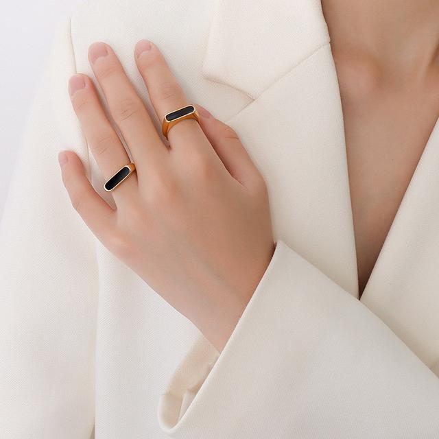 法式復古誇張幾何形狀滴膠元素鈦鋼指環鍍18K金指戒戒指女小飾品