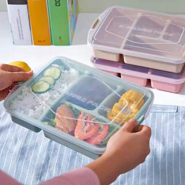 保鮮盒四格分隔 學生微波爐餐盒方形日式密封盒