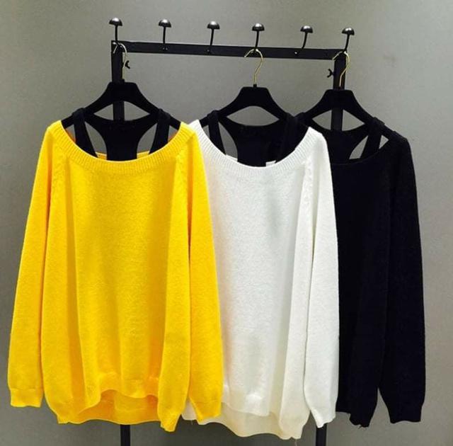韓版寬鬆顯瘦寬領針織衫(內搭背心+針織衫)(大碼可穿)
