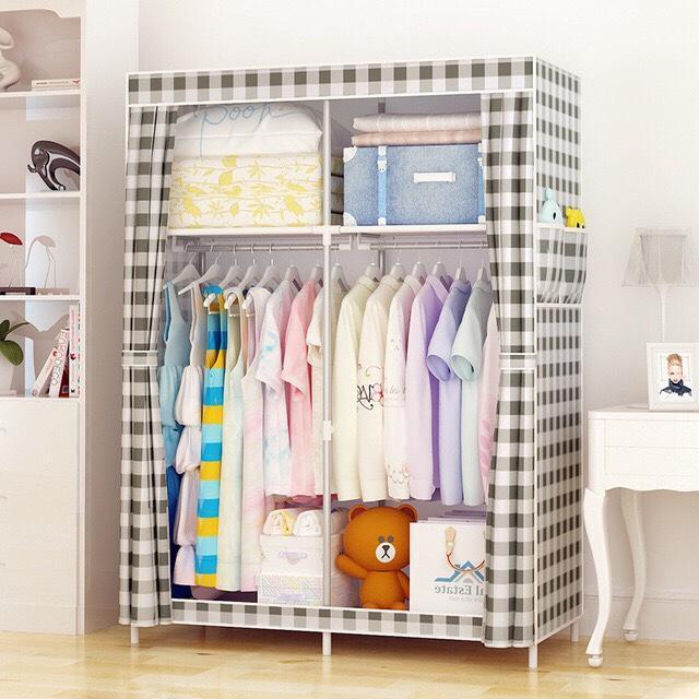 DIY 簡易衣櫃鋼管加固布藝布衣櫃現代簡約經濟型組裝宿舍衣櫥鋼架