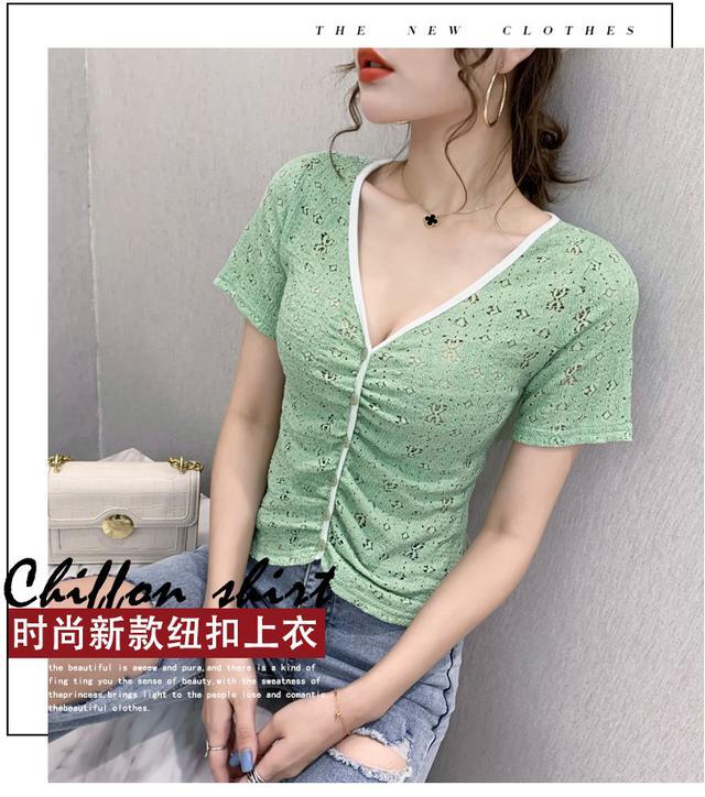 40302  鉤花鏤空V領短袖小衫