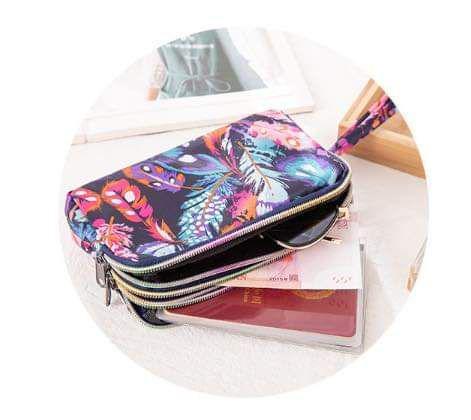 (預購S) 彩色花朵三層拉鍊印鑑護照收納手拿包