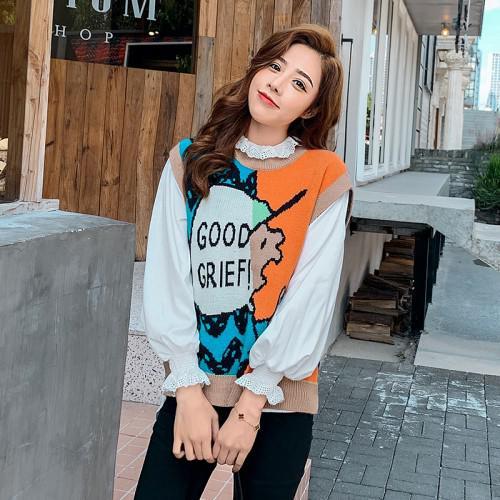 11 韓國 印花馬甲毛衣(2色)