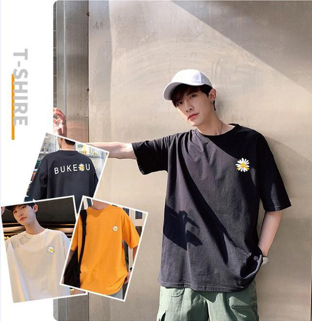 06 M-4XL 優質純棉ins港風小雛菊半袖T恤(3色)