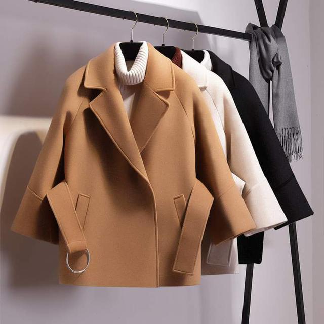 【預購】基本款短版縮腰毛呢外套