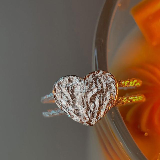 S925純銀熔岩愛心戒指女簡約設計感甜酷輕奢小眾食指戒指環潮