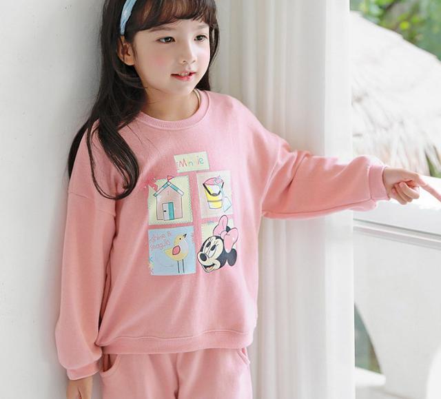 11 可愛抓絨粉色卡通衛衣套裝 親子裝 6854