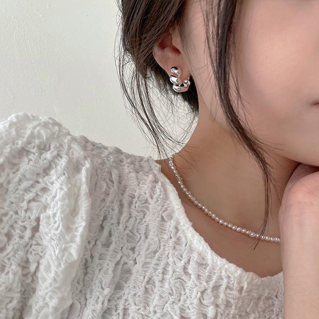 925銀針不規則螺旋麻花設計耳環女小眾IG冷淡風簡約個性潮流飾品