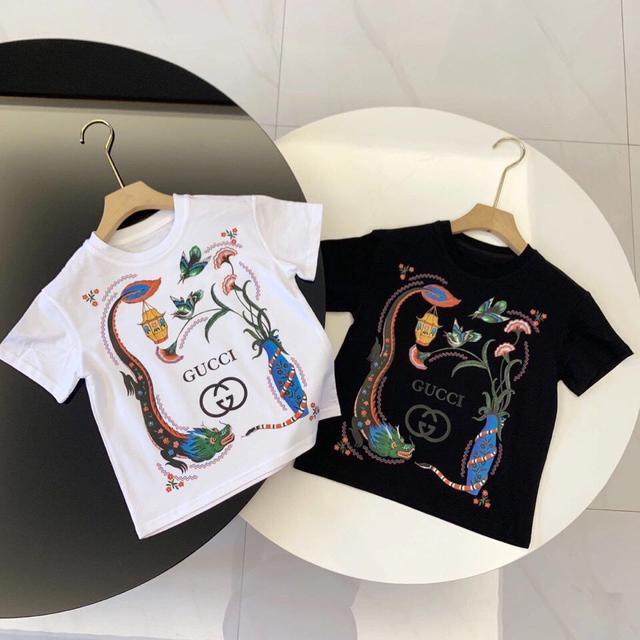 男童短袖t恤女孩2021新款g家中小童女寶寶上衣夏裝潮牌洋氣打底衫