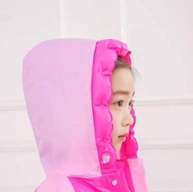 卡通兒童帶書包位充氣帽雨衣