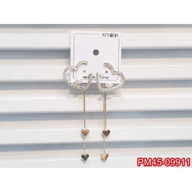 正韓S925純銀 一款兩戴 缺角閃鑽珍珠愛心流蘇耳環   耳針 韓式