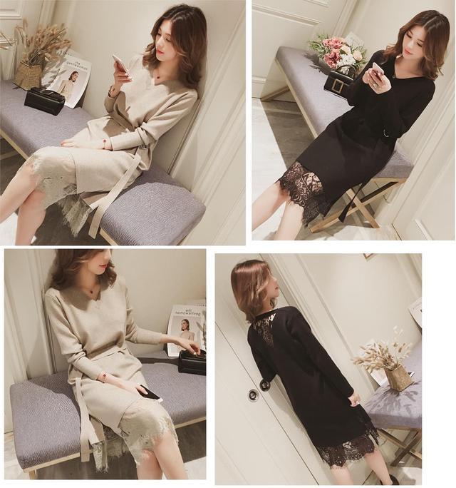 預購薄款針織棉蕾絲連身裙+腰帶
