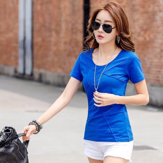 夏装纯色半袖女体恤修身显瘦简约韩版纯棉白色短袖t恤女百搭上衣