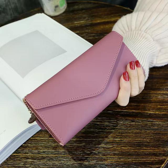 新款簡約女士錢包女長款三折錢夾軟皮流蘇學生韓版可愛零錢包卡包