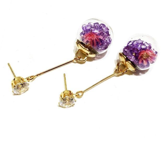 乾燥花玻璃球耳環