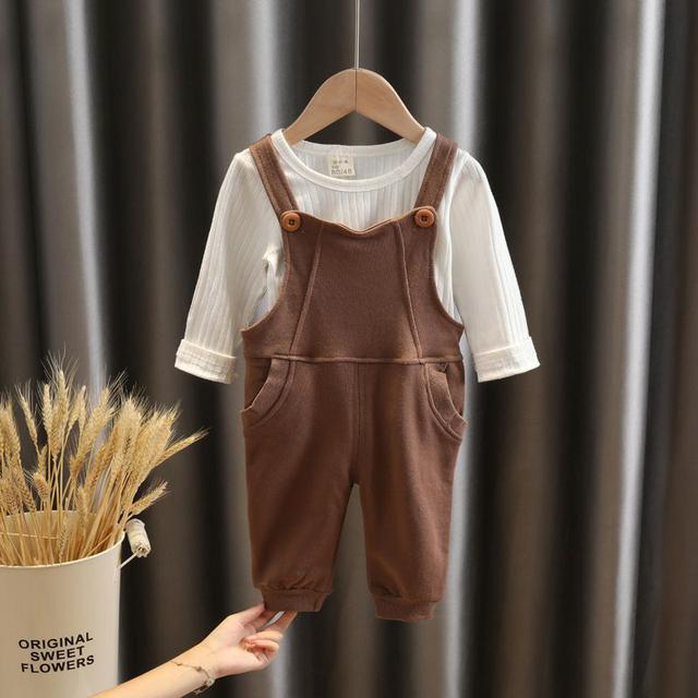 女童寶寶秋裝背帶褲套裝新款-春秋季長袖t恤兩件套