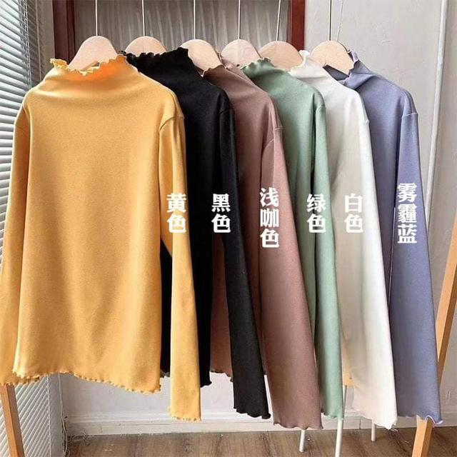 (預購S) K361 - 韓國爆紅暖暖木耳邊半高領上衣