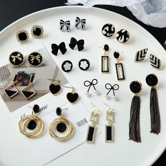 預購網红百搭氣質 黑色耳環(平)