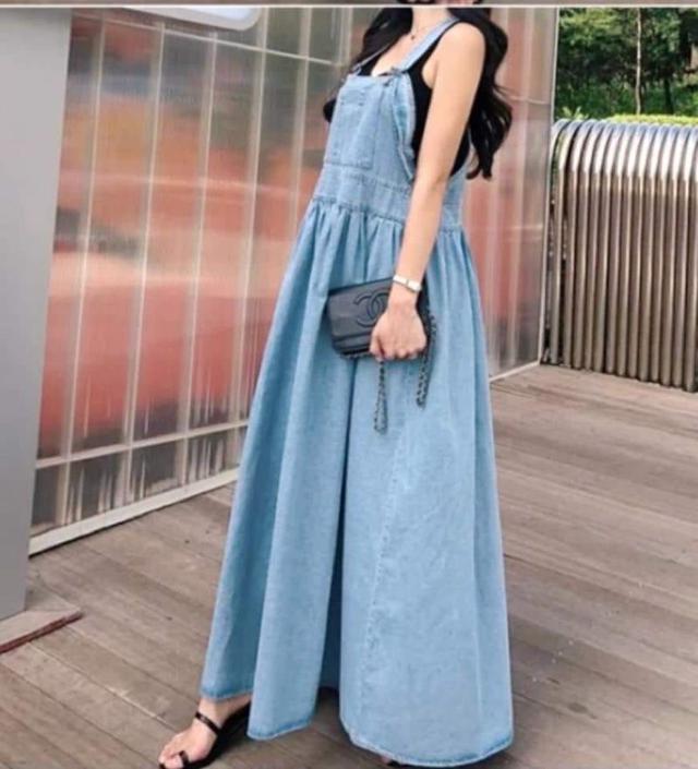 網紅同款👉韓版水洗牛仔吊帶大擺洋裝