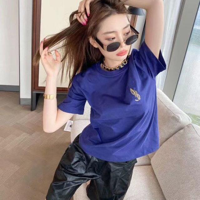新Y*L聖@蘭金色刺繡logo青春海軍藍T恤 高端品質夏季短袖女款