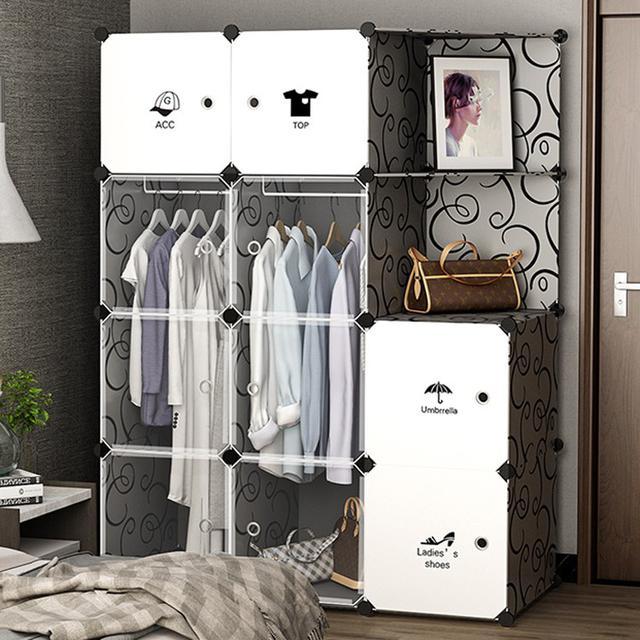 DIY衣櫃 透明門板 簡易組裝現代簡約臥室收納塑膠租房經濟型