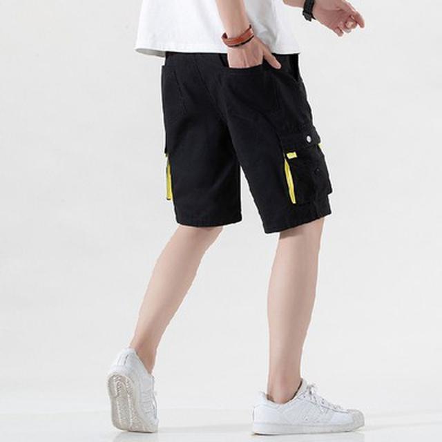 06 M-5XL 優質純棉休閒大口袋運動沙灘中褲(4色)