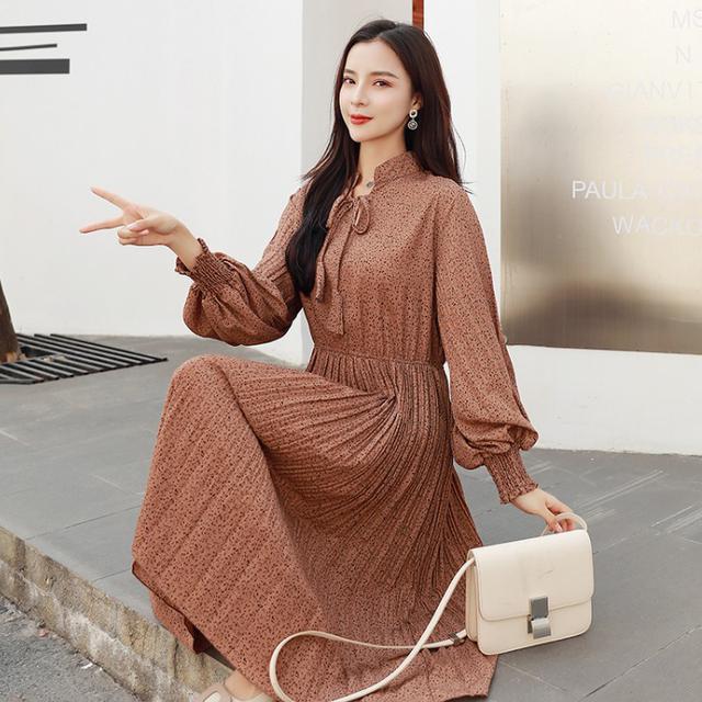 11 S-2XL 韓版 法式復古雪紡碎花百褶連衣裙(2色)