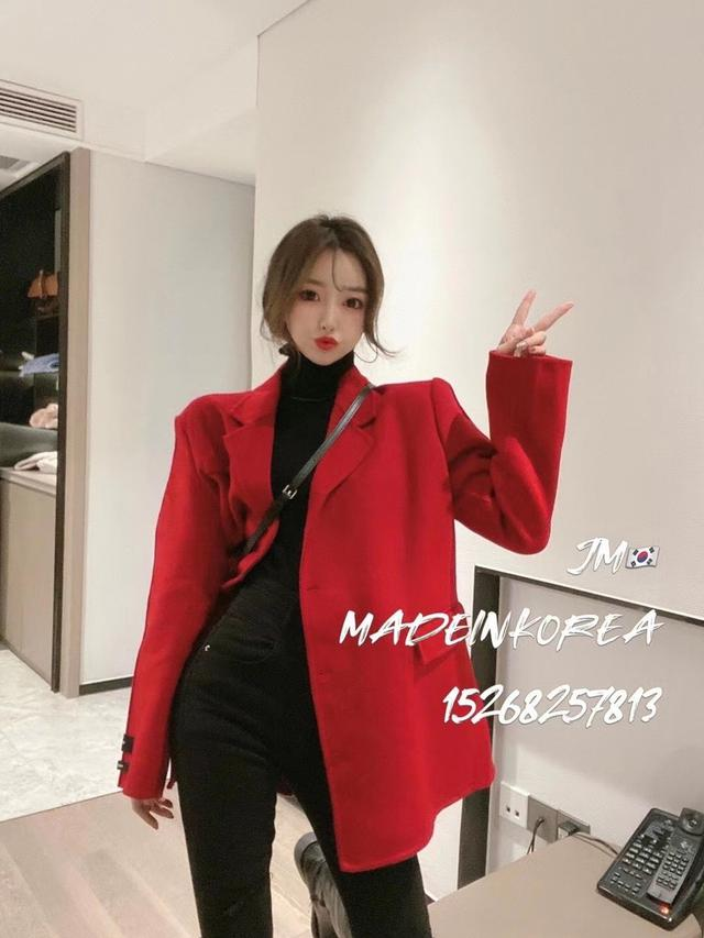 秋冬新款时尚小香风夹棉过年必备红色呢大衣外套