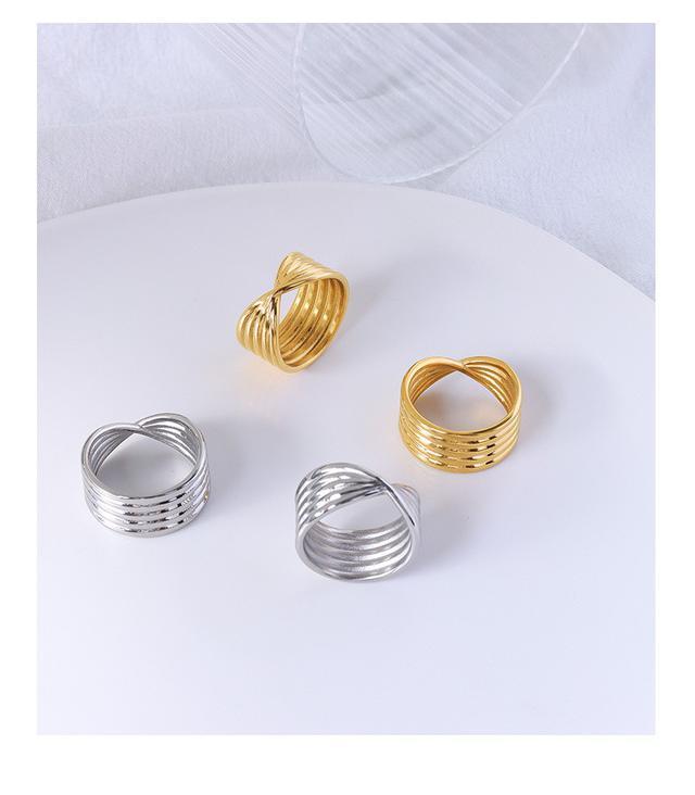 歐美IG中心扭結波紋戒指指環鈦鋼鍍18真金男女時尚潮流指環飾品