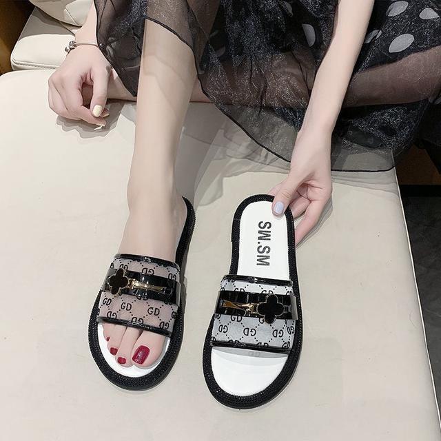 拖鞋女夏外穿ins網紅2020新款百搭時尚一字拖平底羅馬涼拖鞋