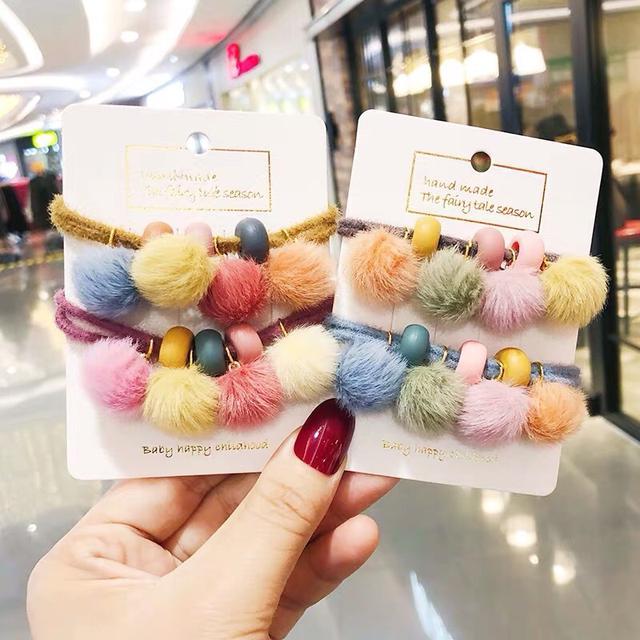 絨毛球串珠裝飾髮繩