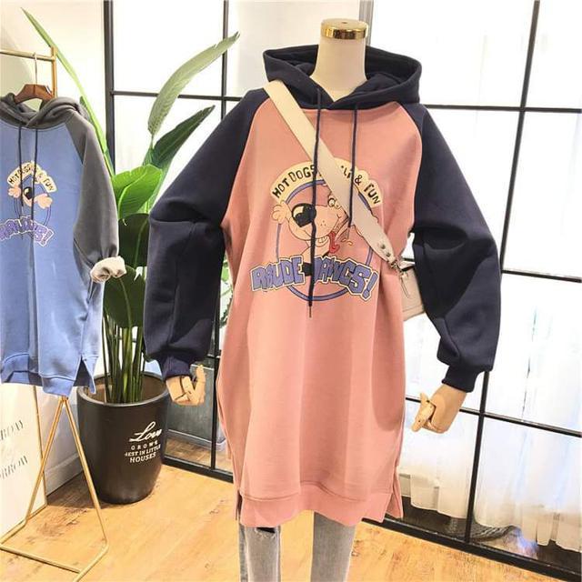 【預購】拼袖長版連帽洋裝