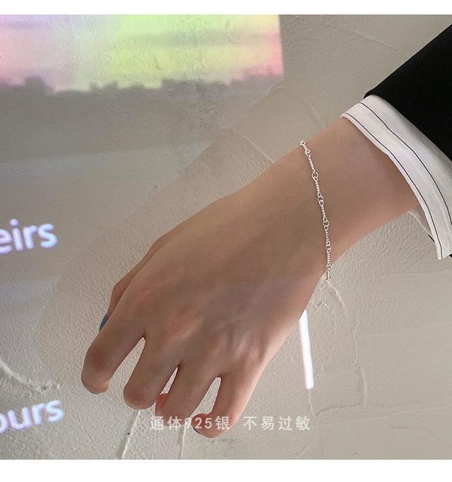 環環相扣創意時尚設計感拼接手鍊925純銀女生小眾韓版IG時尚首飾